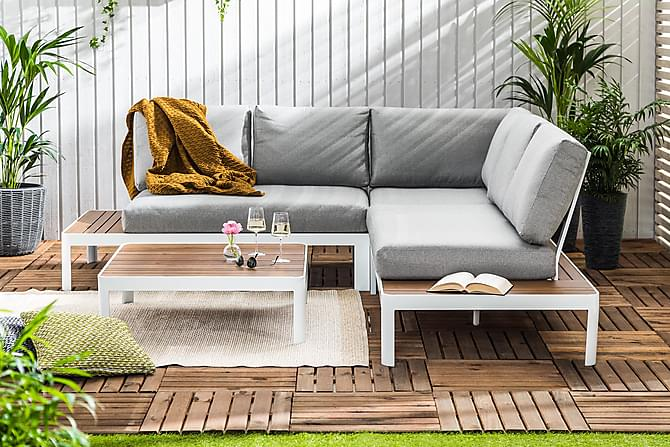 Noah Loungegruppe - Hvit/Lysegrå/Trelook - Hagemøbler - Loungemøbler - Loungegrupper