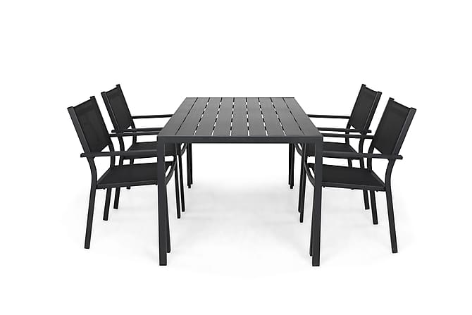 Tunis Spisegruppe 150+4 Sierra Stablestoler - Svart - Hagemøbler - Velg etter materiale - Aluminium & stål