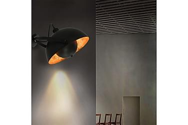 Vegglampe svart og gull halvkuleformet E27