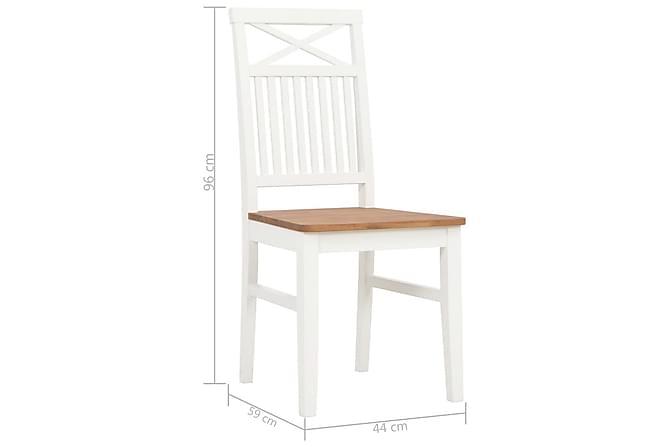 Spisestoler 4 stk hvit heltre eik - Hagemøbler - Velg etter materiale - Kunstrotting
