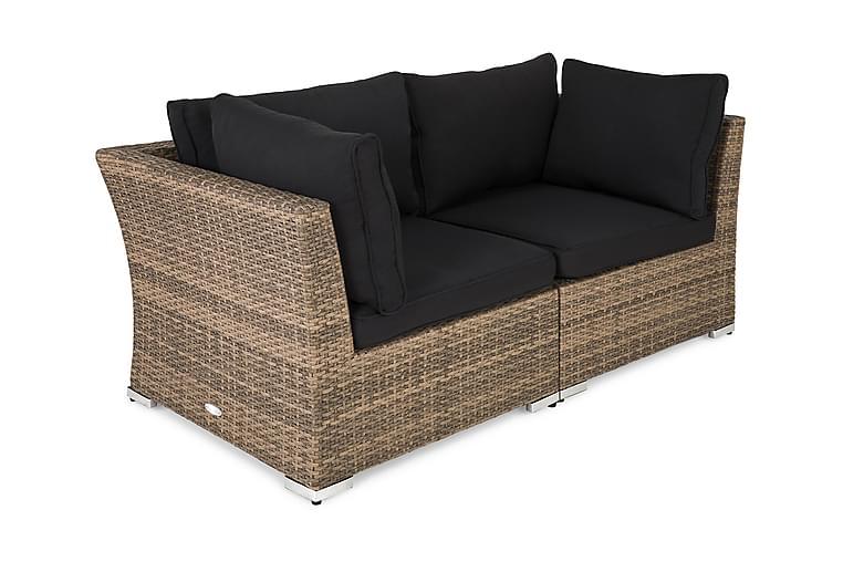 Wisconsin Loungesofa med Armlene 2-seter Kunstrotting/Sand - Sand - Hagemøbler - Velg etter materiale - Kunstrotting