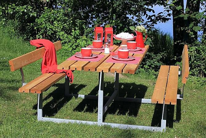 Basic bord- og benkesett med 2 ryggstøtter - Hagemøbler - Hagebord - Piknikbord