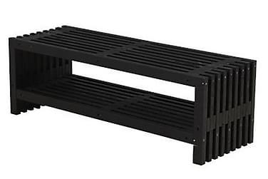 Rustikk benk Design av terrassebord138x49x45cm m/hylle svart
