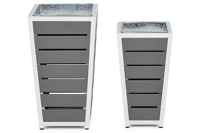 Sierra Krukke Sett med 2 - Hvit/Grå - Hagemøbler - Velg etter materiale