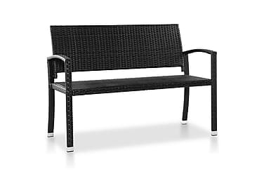 Hagebenk 122 cm polyrotting svart