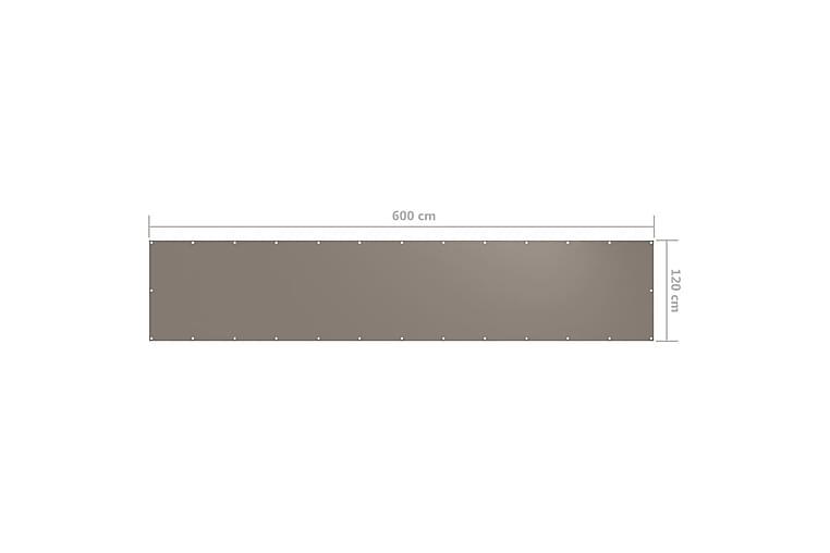 Balkongskjerm gråbrun 120x600 cm oxfordstoff - Taupe - Hagemøbler - Solbeskyttelse - Balkongbeskyttelse