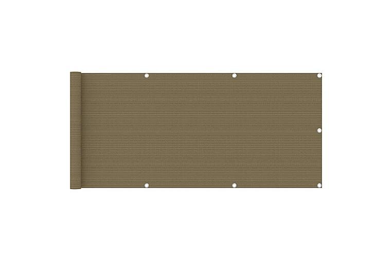 Balkongskjerm gråhvit 75x400 cm HDPE - Taupe - Hagemøbler - Solbeskyttelse - Balkongbeskyttelse