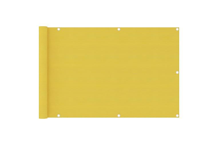 Balkongskjerm gul 90x400 cm HDPE - Gul - Hagemøbler - Solbeskyttelse - Balkongbeskyttelse