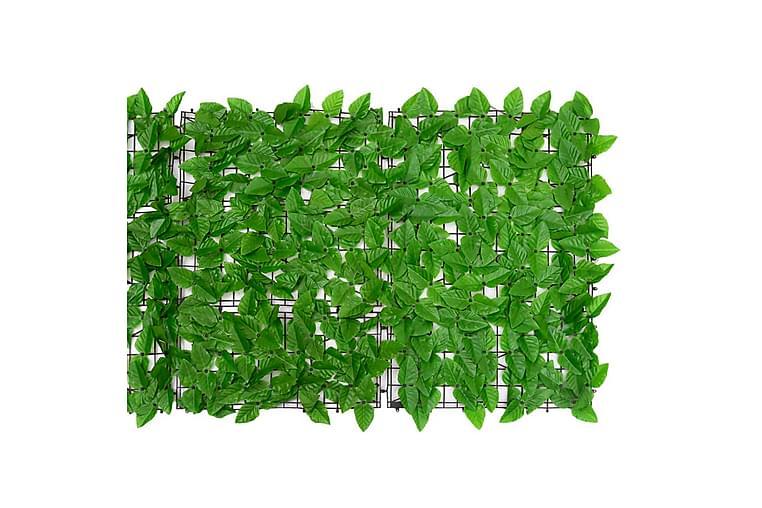 Balkongskjerm med grønne blader 400x75 cm - grønn - Hagemøbler - Solbeskyttelse - Balkongbeskyttelse