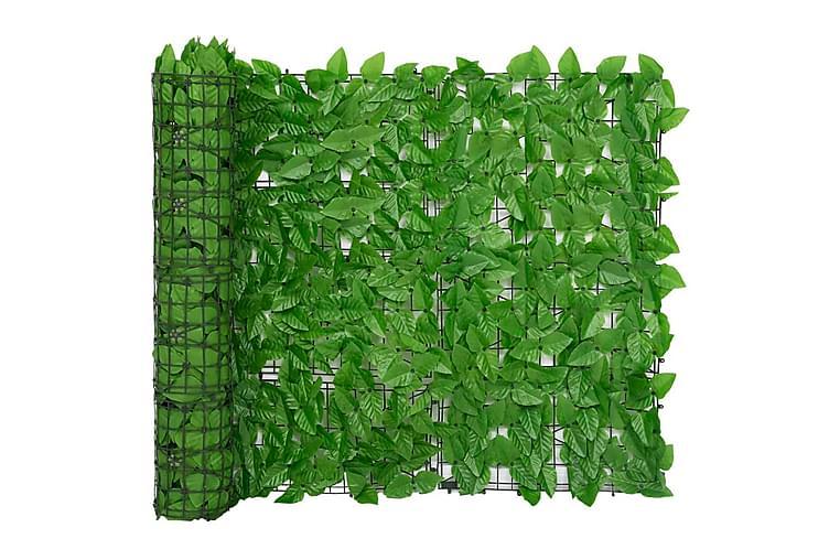 Balkongskjerm med grønne blader 600x100 cm - grønn - Hagemøbler - Solbeskyttelse - Balkongbeskyttelse