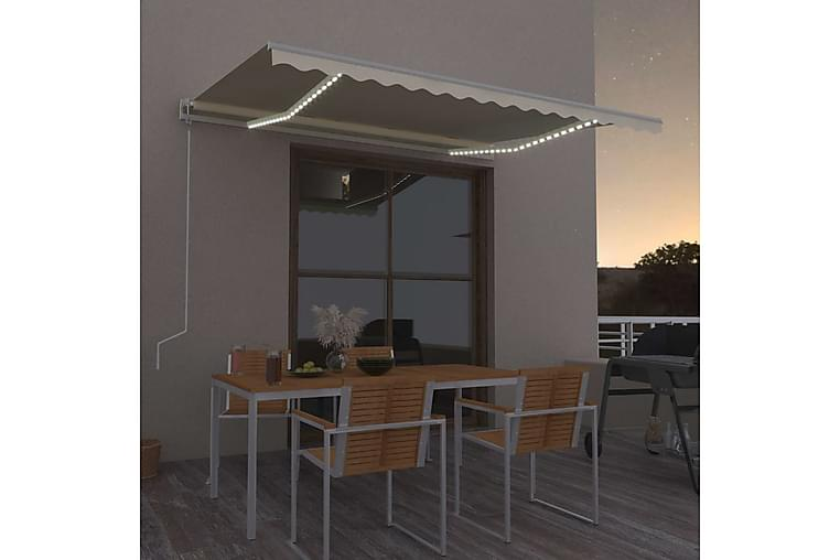 Automatisk markise med vindsensor og LED 400x300 cm kremhvit - Krem - Hagemøbler - Solbeskyttelse - Markiser
