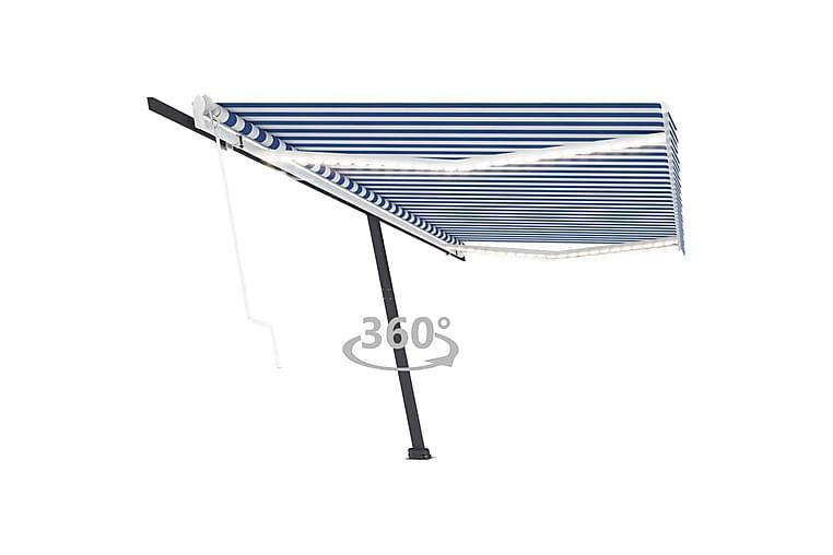 Automatisk markise med vindsensor og LED 500x300 cm blå og h - Blå - Hagemøbler - Solbeskyttelse - Markiser
