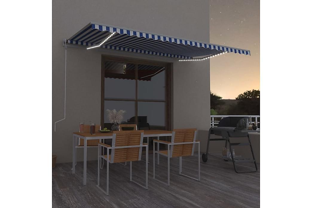 Automatisk markise med vindsensor og LED 500x350 cm - Blå - Hagemøbler - Solbeskyttelse - Markiser