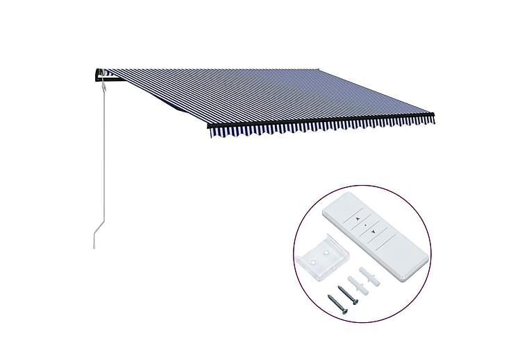 Automatisk uttrekkbar markise 500x300 cm blå & hvit - Hagemøbler - Solbeskyttelse - Markiser