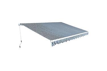Foldbar markise manuell 450 cm blå/hvit