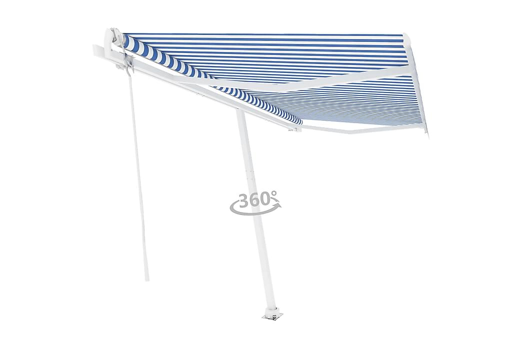 Frittstående automatisk markise 400x300cm blå og hvit - Blå - Hagemøbler - Solbeskyttelse - Markiser
