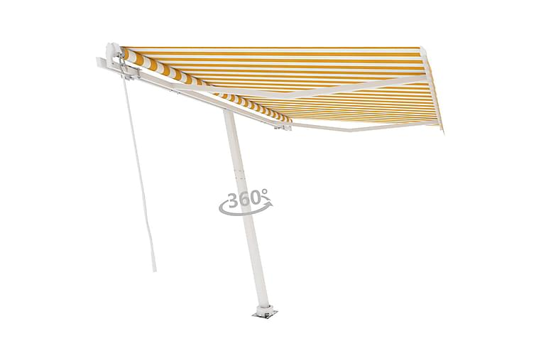 Frittstående manuell uttrekkbar markise 300x250 cm - Gul - Hagemøbler - Solbeskyttelse - Markiser