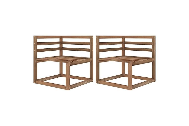 Hjørnesofaer av paller 2 stk brun impregnert furu - Brun - Hagemøbler - Solbeskyttelse - Markiser