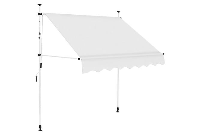 Manuell uttrekkbar markise 150 cm kremhvit - Hagemøbler - Solbeskyttelse - Markiser