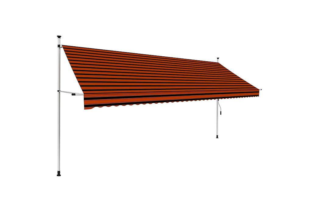 Manuell uttrekkbar markise 400 cm oransje og brun - Flerfarget - Hagemøbler - Solbeskyttelse - Markiser