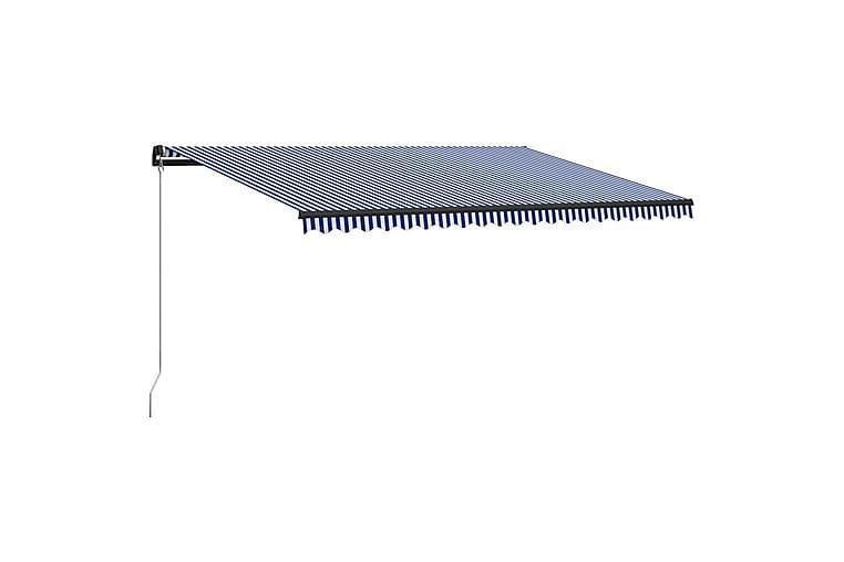 Manuell uttrekkbar markise 500x300 cm blå & hvit - Hagemøbler - Solbeskyttelse - Markiser