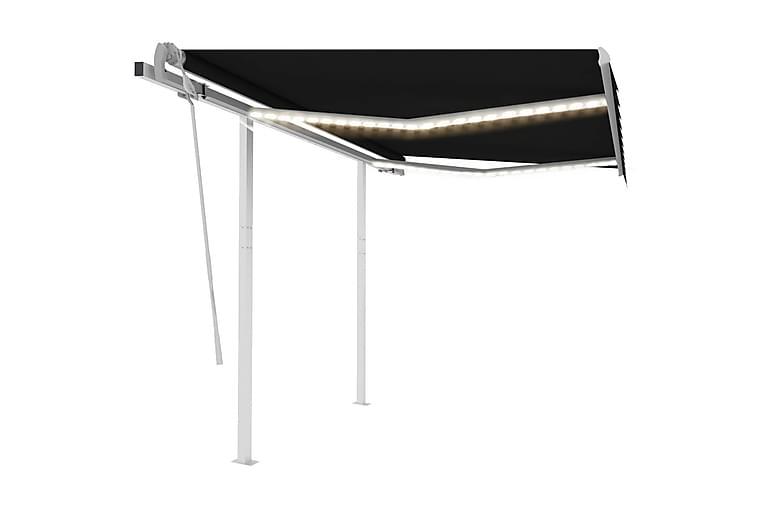 Manuell uttrekkbar markise med LED 3,5x2,5 m antrasitt - Antrasittgrå - Hagemøbler - Solbeskyttelse - Markiser