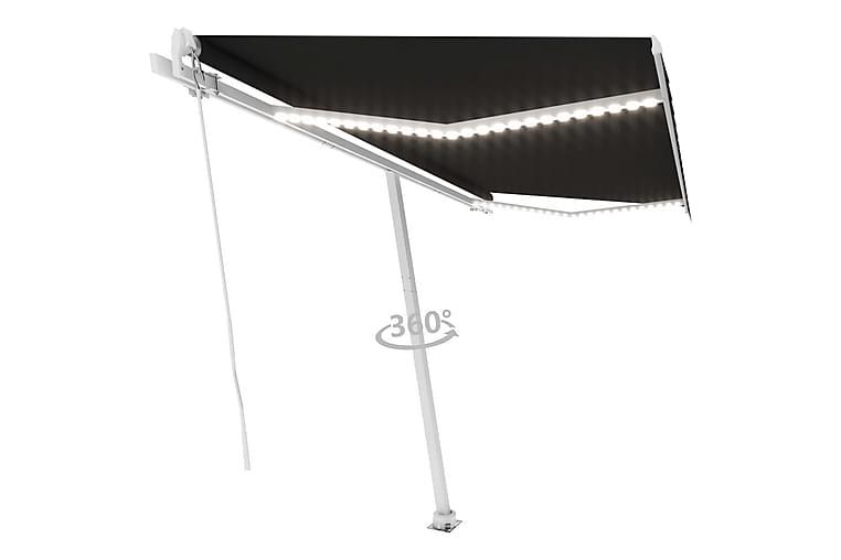 Manuell uttrekkbar markise med LED 400x300 cm antrasitt - Antrasittgrå - Hagemøbler - Solbeskyttelse - Markiser