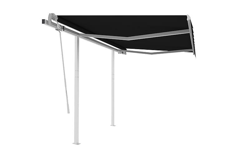 Manuell uttrekkbar markise med stolper 3x2,5 m antrasitt - Antrasittgrå - Hagemøbler - Solbeskyttelse - Markiser