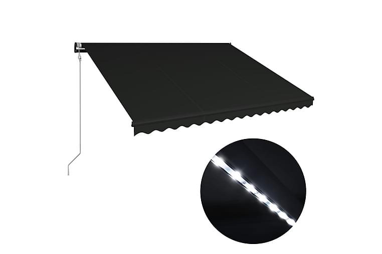 Uttrekkbar markise med vindsensor og LED 400x300cm antrasitt - Grå - Hagemøbler - Solbeskyttelse - Markiser