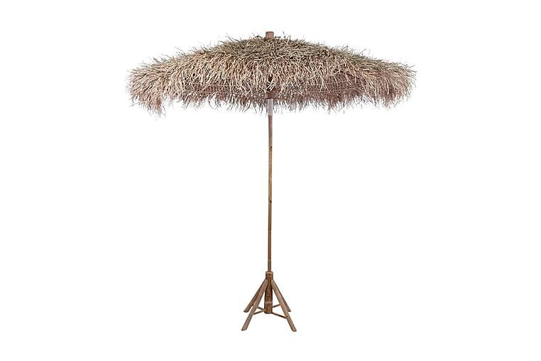 Bambusparasoll 270 cm med tak av bananblad - Brun - Hagemøbler - Solbeskyttelse - Parasoller