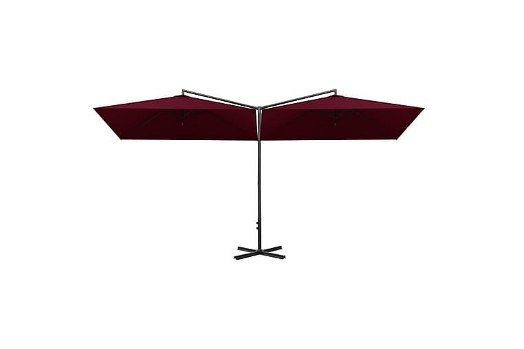 Dobbel parasoll med stålstolpe vinrød 600x300 cm - Rød - Hagemøbler - Solbeskyttelse - Parasoller