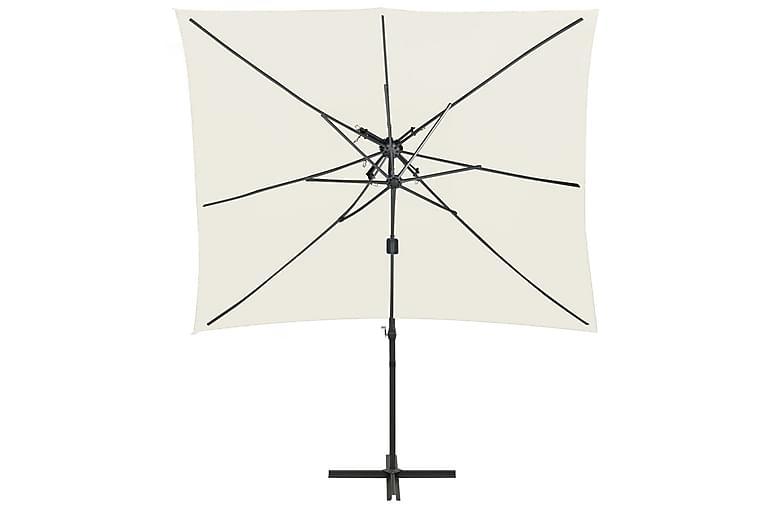 Hengeparasoll med dobbel topp 250x250 cm sand - Hagemøbler - Solbeskyttelse - Parasoller