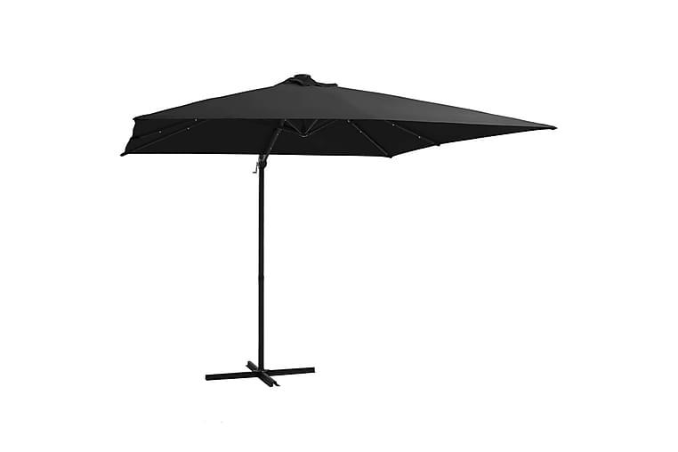 Hengeparasoll med LED-lys og stålstang 250x250 cm svart - Svart - Hagemøbler - Solbeskyttelse - Parasoller