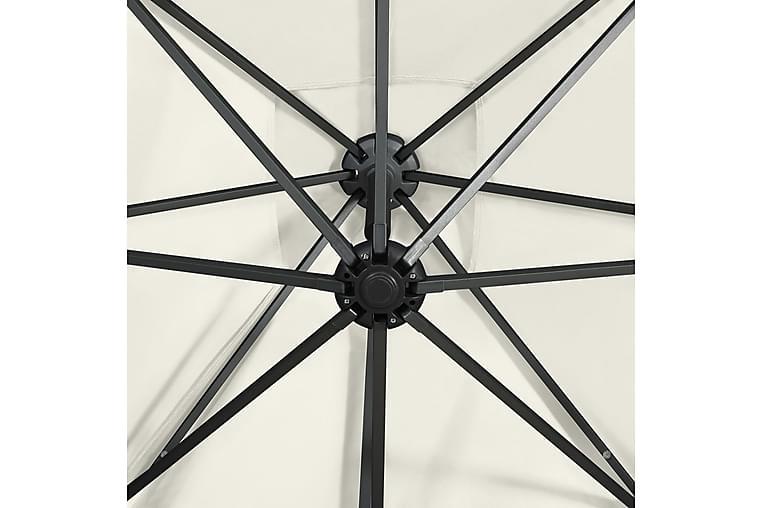 Hengeparasoll med stang og LED-lys 300 cm sand - Hagemøbler - Solbeskyttelse - Parasoller