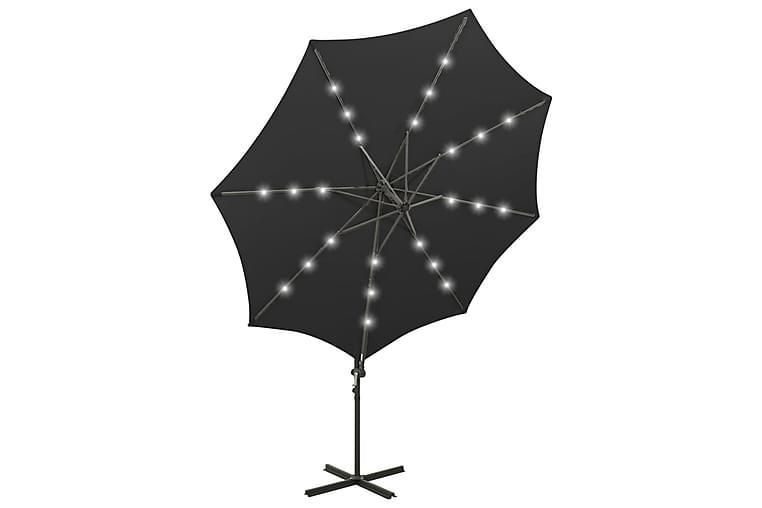 Hengeparasoll med stang og LED-lys 300 cm svart - Svart - Hagemøbler - Solbeskyttelse - Parasoller