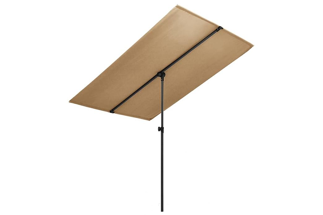Parasoll med aluminiumsstang 2x1,5 m gråbrun - Brun - Hagemøbler - Solbeskyttelse - Parasoller