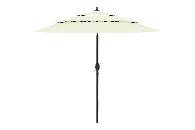 Parasoll med aluminiumsstang 3 nivåer 2,5 m sand - Hagemøbler - Solbeskyttelse - Parasoller