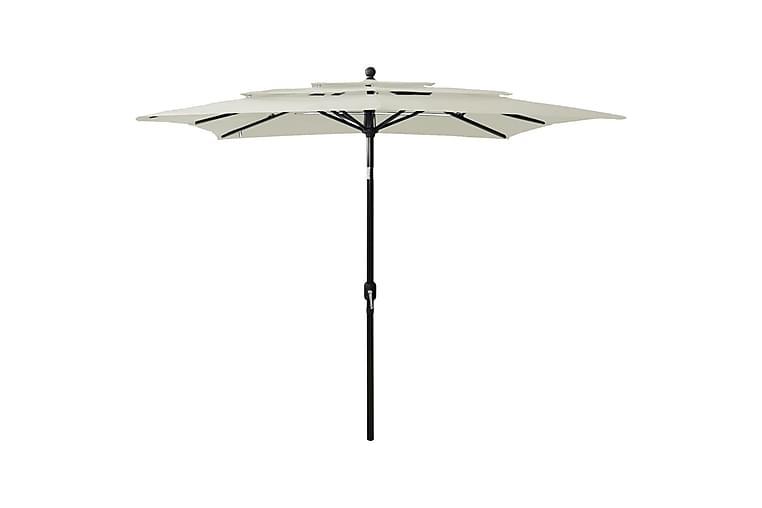 Parasoll med aluminiumsstang 3 nivåer 2,5x2,5 m sand - Hagemøbler - Solbeskyttelse - Parasoller