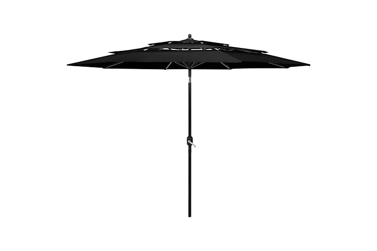 Parasoll med aluminiumsstang 3 nivåer 3 m svart - Hagemøbler - Solbeskyttelse - Parasoller