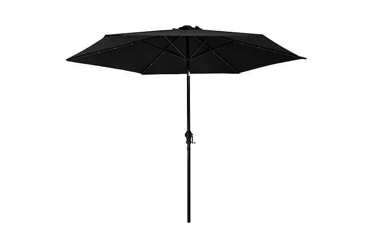 Parasoll med LED-lys og stålstang 300 cm svart - Hagemøbler - Solbeskyttelse - Parasoller
