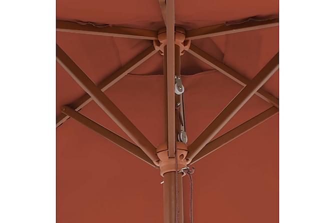 Parasoll med trestang 150x200 cm terrakotta - Hagemøbler - Solbeskyttelse - Parasoller