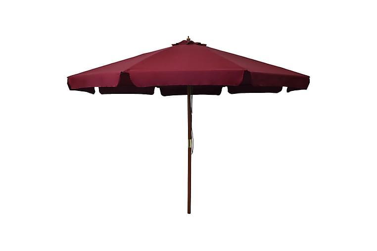 Parasoll med trestang 330 cm burgunder - Hagemøbler - Solbeskyttelse - Parasoller