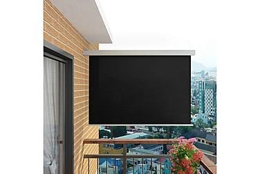 Sidemarkise til balkong multifunksjonell 180x200 cm svart