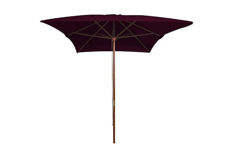 Utendørs parasoll med trestang vinrød 200x300 cm - Rød - Hagemøbler - Solbeskyttelse - Parasoller