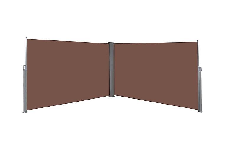 Uttrekkbar sidemarkise 180x600 cm brun - Hagemøbler - Solbeskyttelse - Parasoller