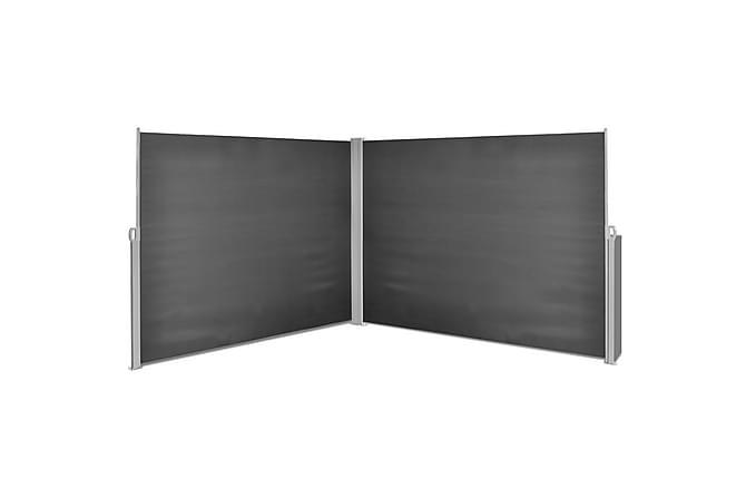 Uttrekkbar sidemarkise 180x600 cm svart - Hagemøbler - Solbeskyttelse - Parasoller