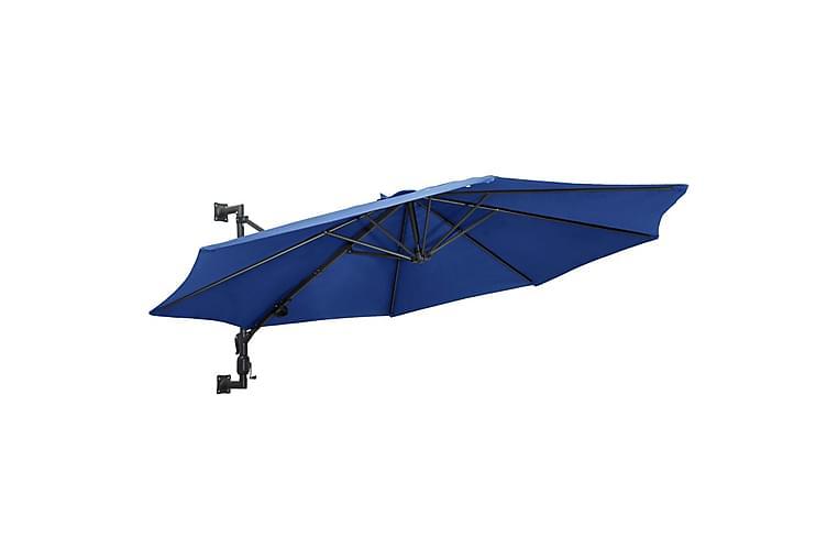 Veggmontert parasoll med metallstang 300 cm blå - Blå - Hagemøbler - Solbeskyttelse - Parasoller