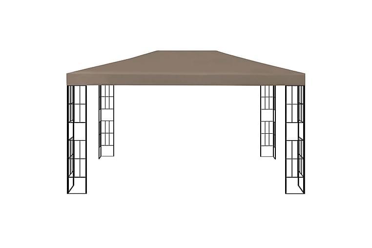 Paviljong med lysslynge 4x3 m gråbrun - Taupe - Hagemøbler - Solbeskyttelse - Paviljonger