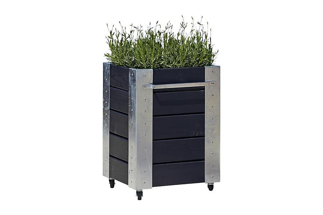 Cubic blomsterkasse 46x50x70 cm med stålhjørne og hjul - Hagemøbler - Tilbehør - Hagekrukker