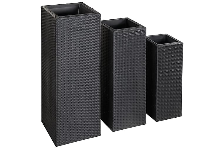 Høybed 3 stk polyrotting svart - Svart - Hagemøbler - Tilbehør utendørs - Hagekrukker